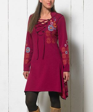 Love this Coline USA Fuchsia Lace-Up Dress - Women & Plus by Coline USA on #zulily! #zulilyfinds