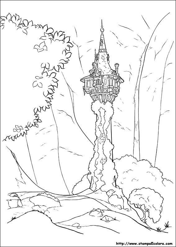 Disegni De Rapunzel Pagine Da Colorare Disney Torre Rapunzel Libri Da Colorare