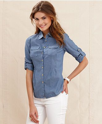 35565a68 Tommy Hilfiger Shirt, Long-Sleeve Chambray Button-Down - Tops - Women -  Macy's, $25.99