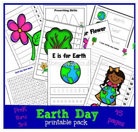 Free Earth Day Printable Pack PreK through 3rd Grade Earth