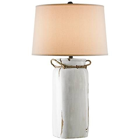 Sallaway Distressed White Table Lamp 4f260 Lamps Plus Lamp Table Lamp Bottle Table Lamps