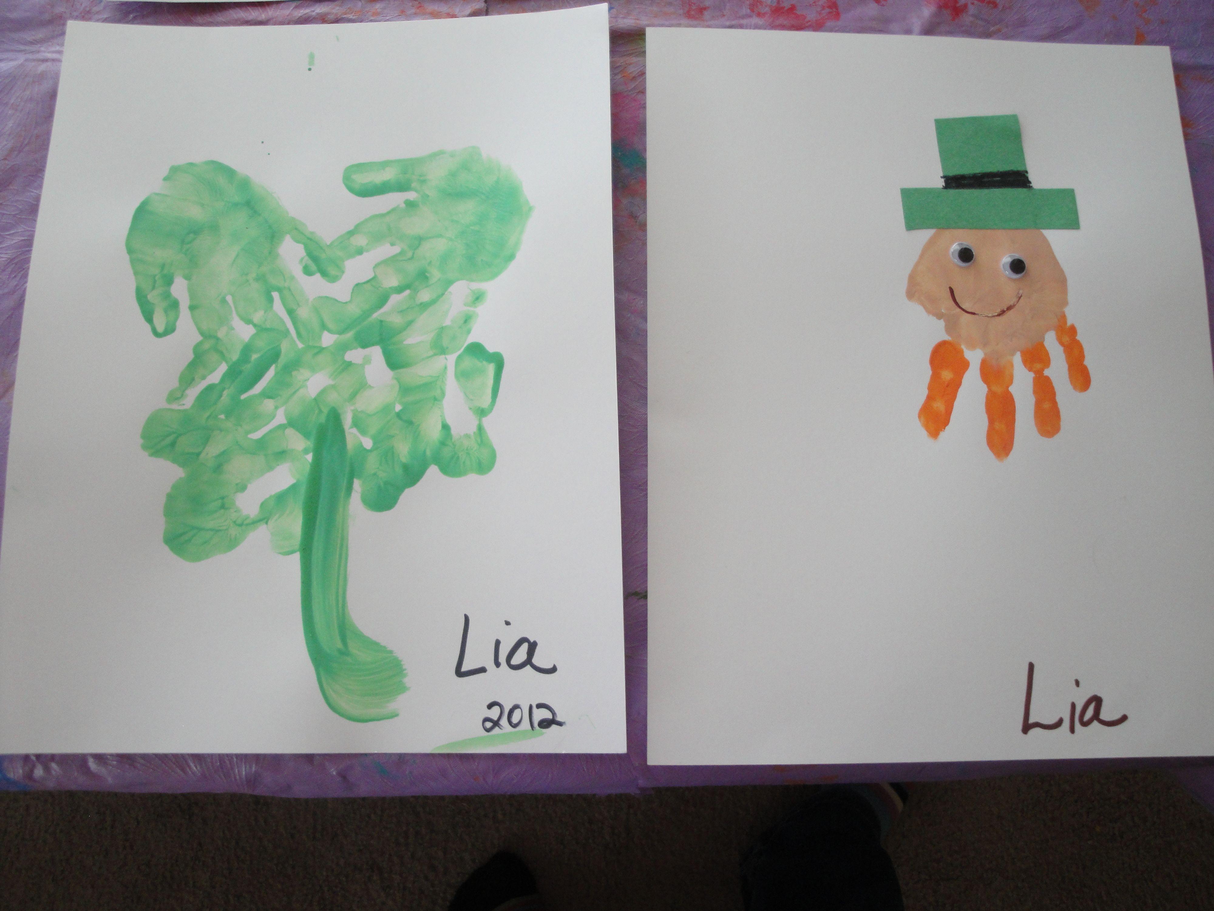 Handprint Crafts For Kids St Patricks Themed Kids Crafts
