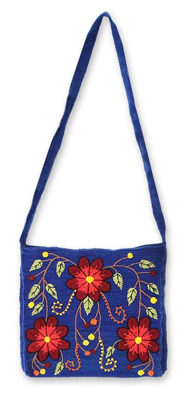Novica Wool shoulder bag, Sunflower Sisters - Handwoven and Embroidered Wool Shoulder Bag