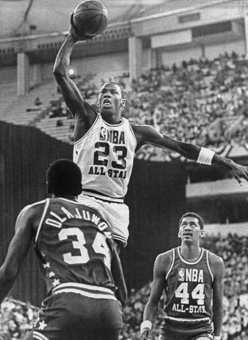 Michael Jordan, Hakeem Olajuwon and George Gervin: