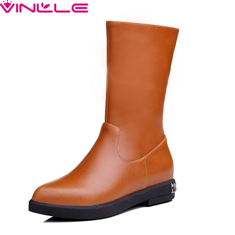 59.26$  Watch here - http://alikxq.worldwells.pw/go.php?t=32523373873 - VINLLE Women Boots New Full Grain Leather Pointed Toe Shoes Short Plush Flat Zipper Solid Mid Calf Lady Winter Boots Size 34-39 59.26$