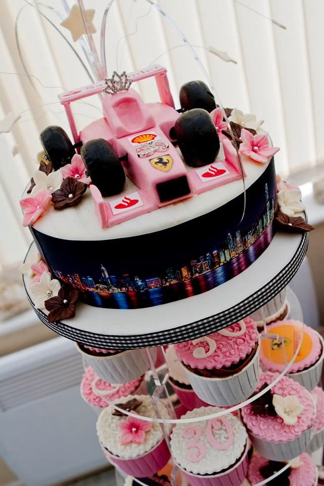 Formula One racing fanatics 30th Birthday cupcake tower featuring