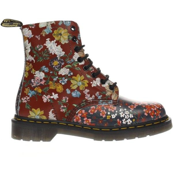 Womens Red & Navy Dr Martens Floral Pascal 8 Eye Boots ($165) ❤ liked