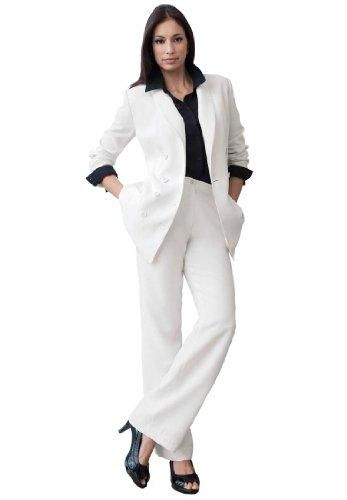 e0f110cd75522 Jessica London Womens Plus Size Double Breasted Pantsuit White