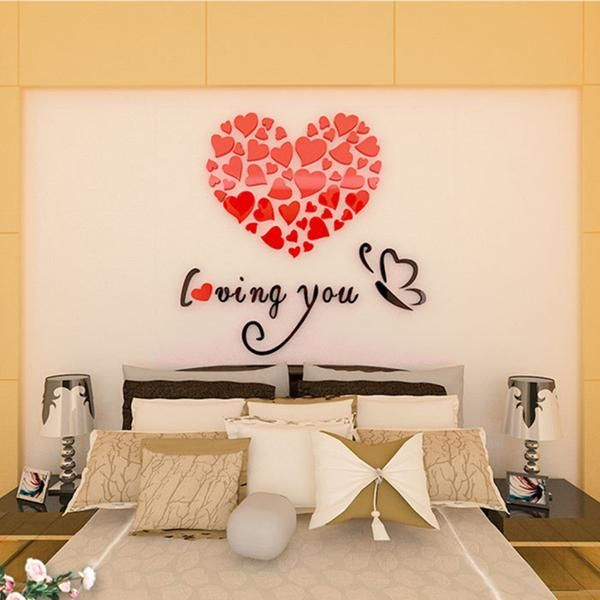 Best Colorful Love Heart 3D Acrylic Decoration Wall Sticker 400 x 300