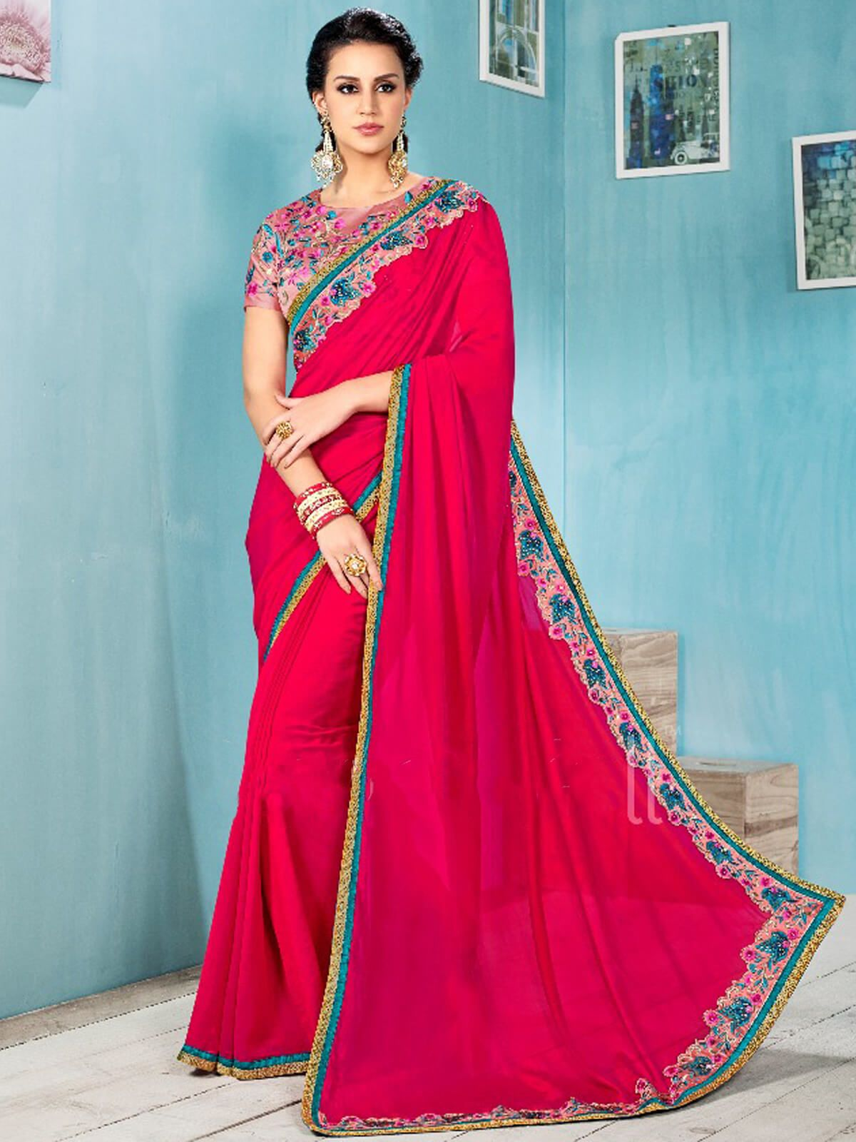 Sparky pink chiffon ceremonial wear designer saree having fabric