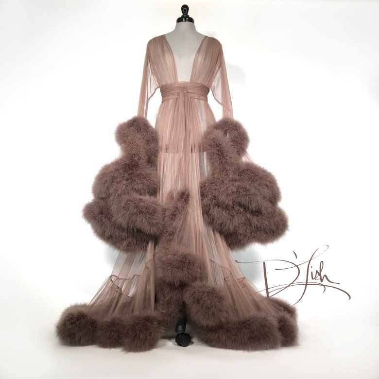 16++ Chiffon dressing gown with fur trends