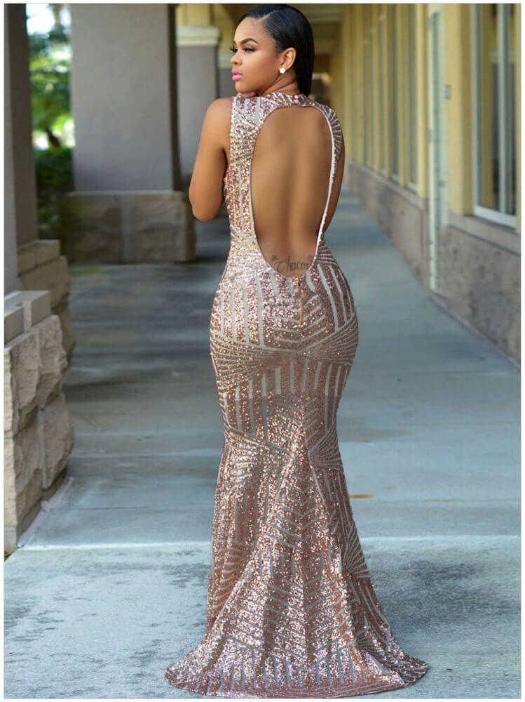 c49667d3b2 Rose Gold Sequins Elegant Cut Out Back Mermaid Floor Length Evening ...