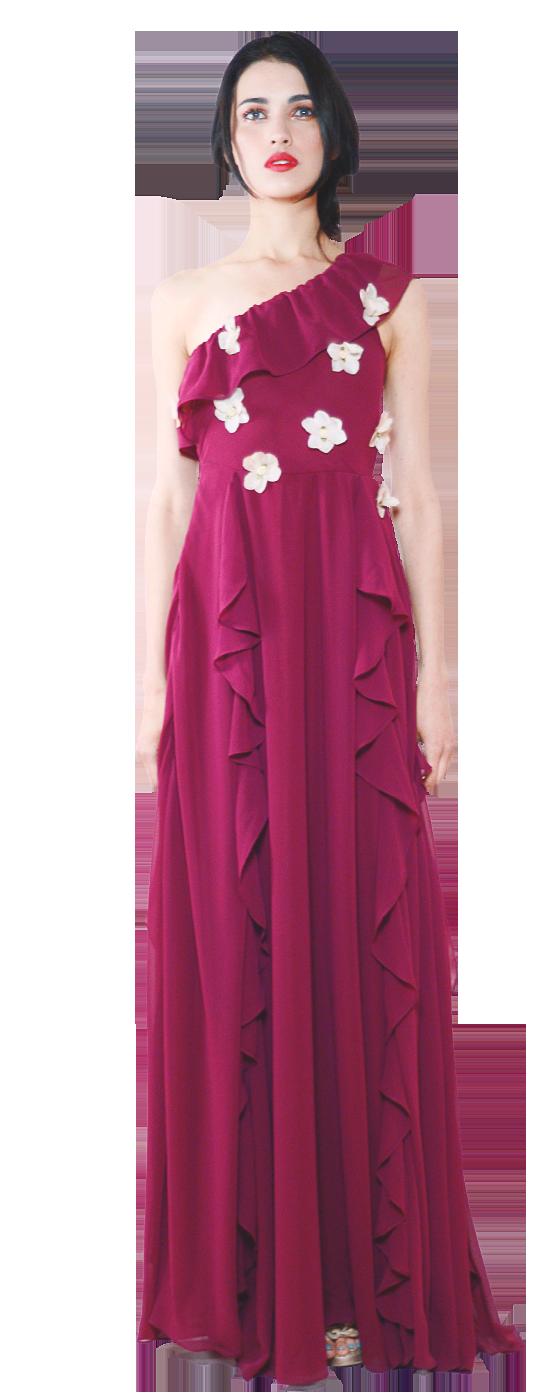 FLORAL MORELLO Vestido de noche con escarolas, un solo hombro con ...