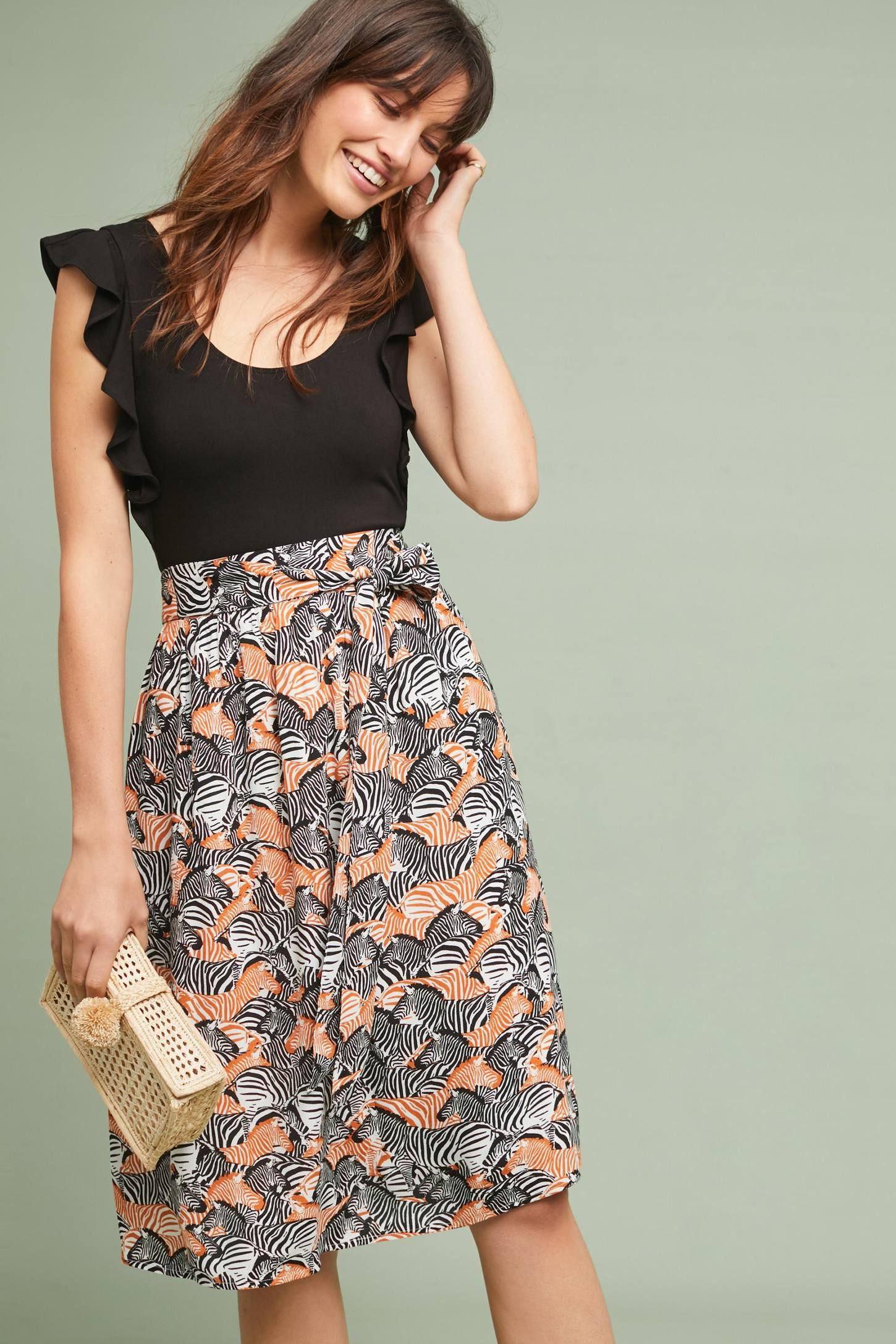 ba4621665eed Getaway Printed Skirt $118.00 Porridge (Anthropologie) | knee-length,  a-line, tie-waist, zebra patterned skirt