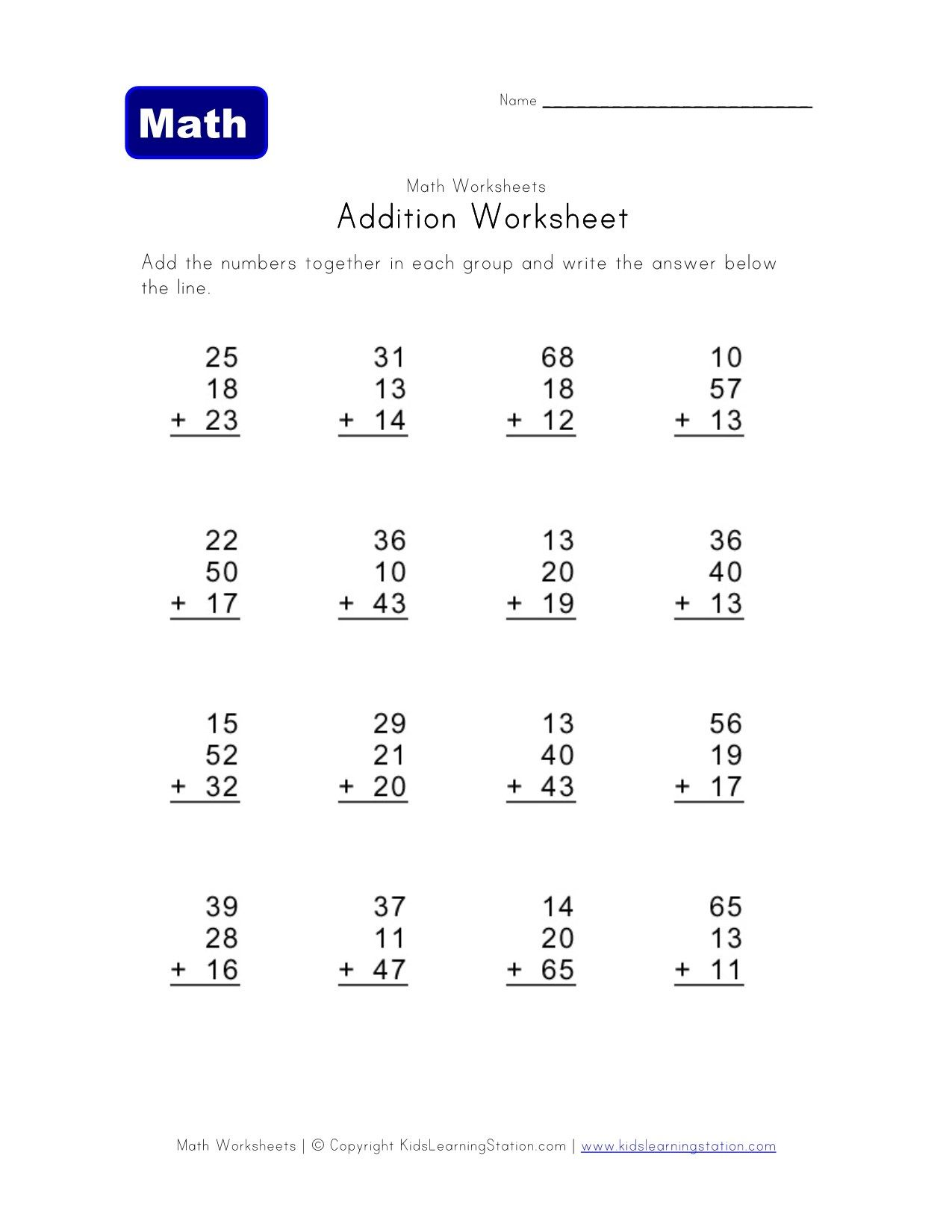 20 Three Digit Three Addend Addition Worksheet