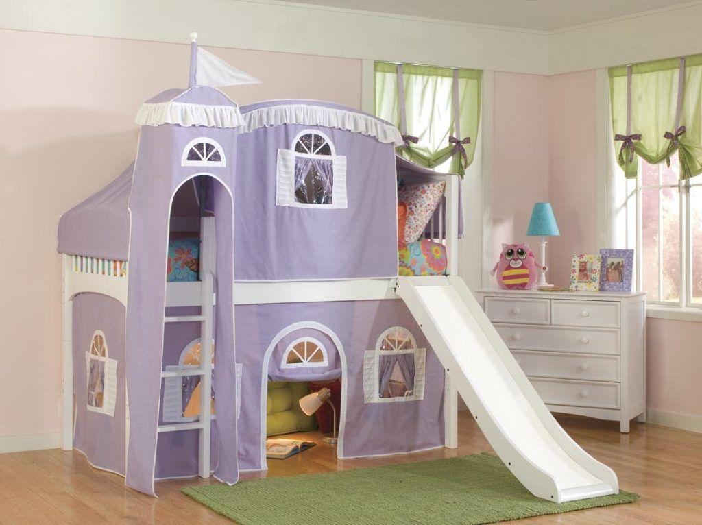 Furniture Alluring Kids Loft Bed With Slide For Kids Playground