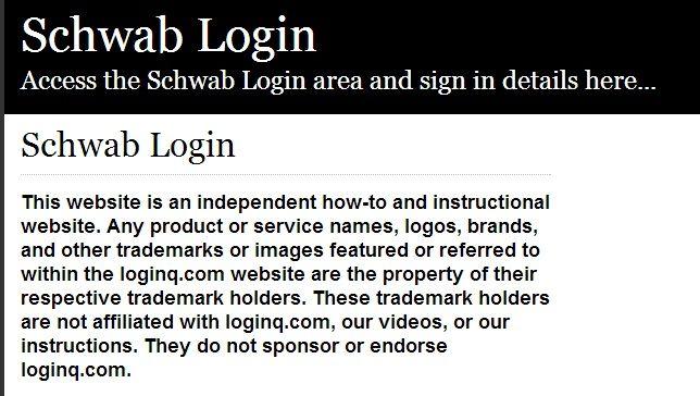 Secure Login Access The Schwab Login Here Secure User Login To
