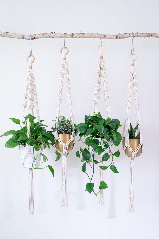 Macrame Plant Hanger Macrame Hanging Basket Mom Gift Indoor Etsy