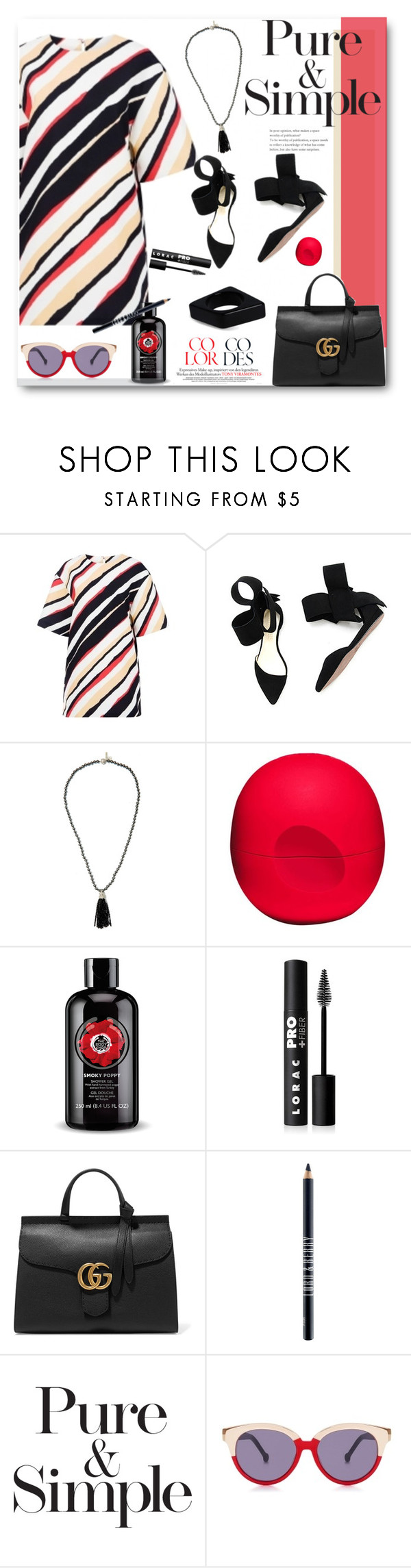 """""""Pure & Simple in Stripes"""" by prettynposh2 ❤ liked on Polyvore featuring TIBI, Oscar de la Renta, Eos, LORAC, Gucci, Lord & Berry, Pure & Simple, Karen Walker, Marni and stripes"""