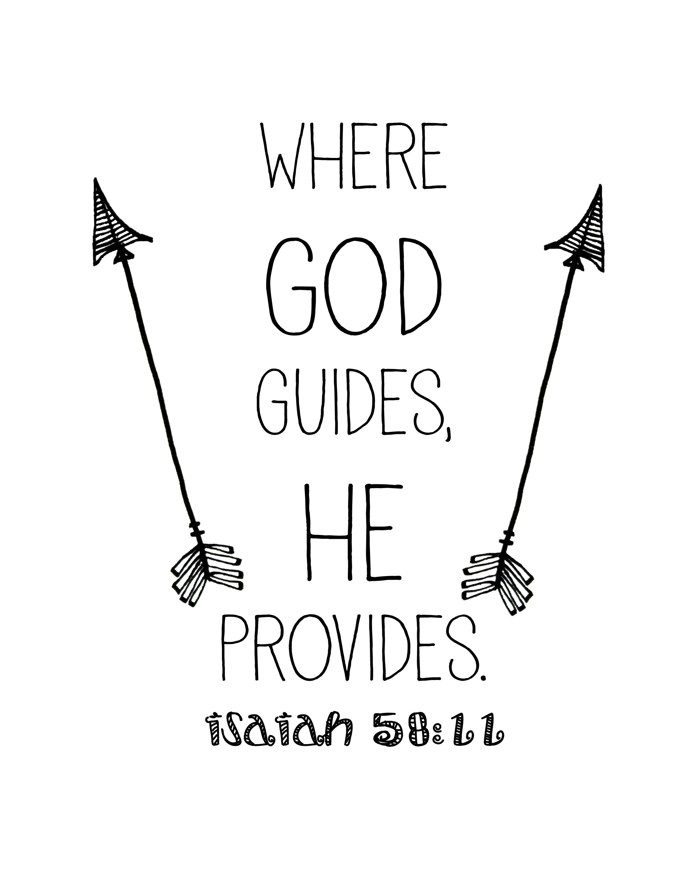 Christian Inspirational Quotes Black Background: Where God Guides He Provides Scripture Isaiah 58:11 Free