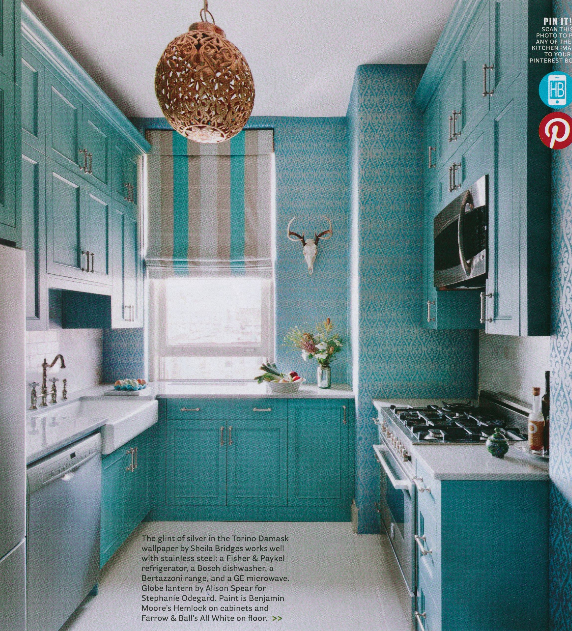 Love this kitchen… amazing color and the wallpaper is GREAT ...