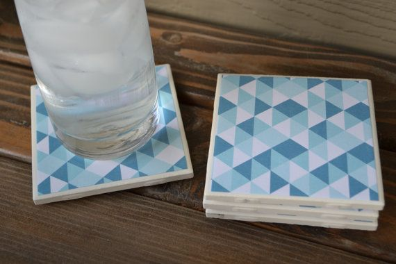 Set of 4 tile coasters  Turquoise and White by HeatherBorerDesigns