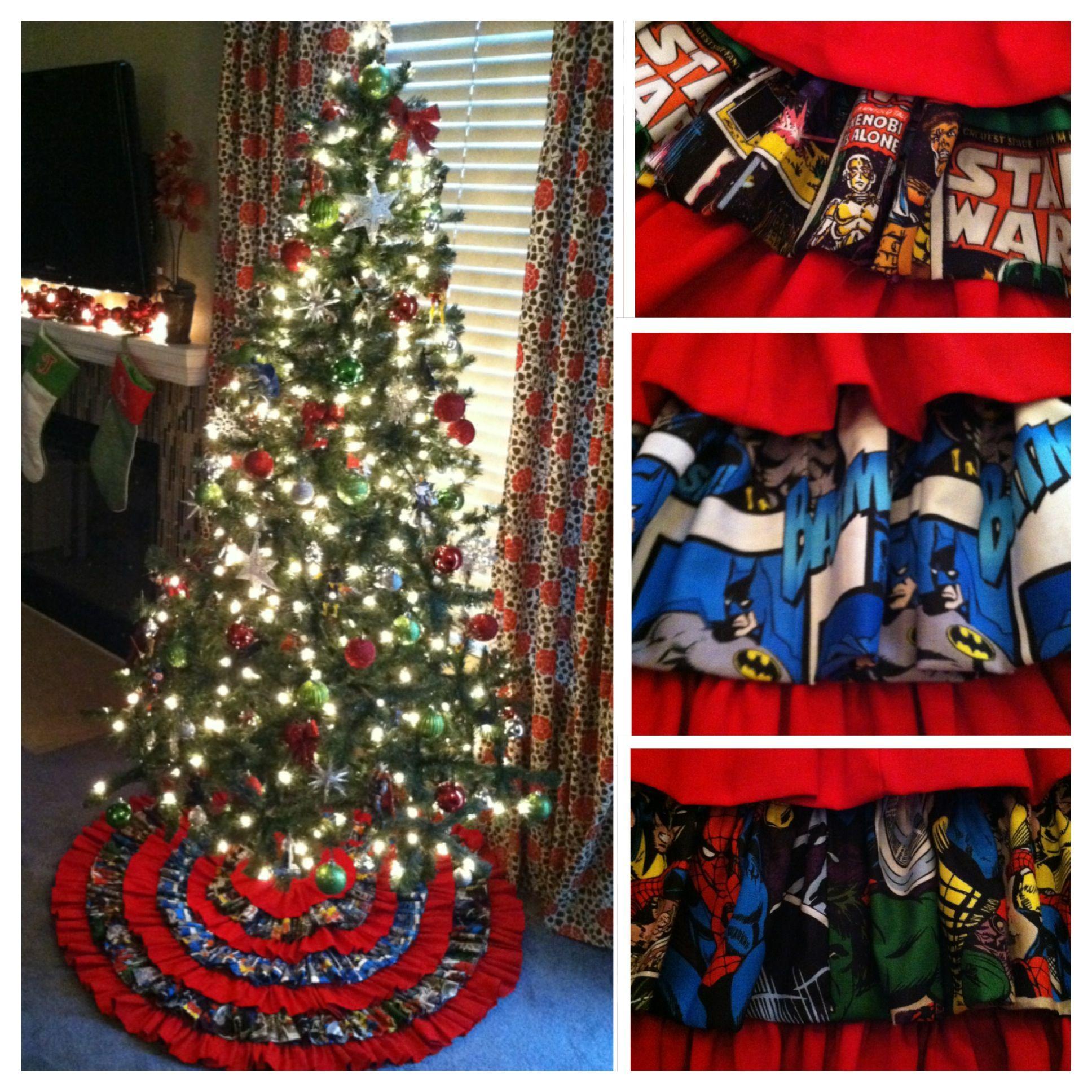 Super Hero Star Wars Christmas Tree Skirt Only Marvel For This Girl But I Like The Design Star Wars Christmas Tree Star Wars Christmas Spiderman Christmas