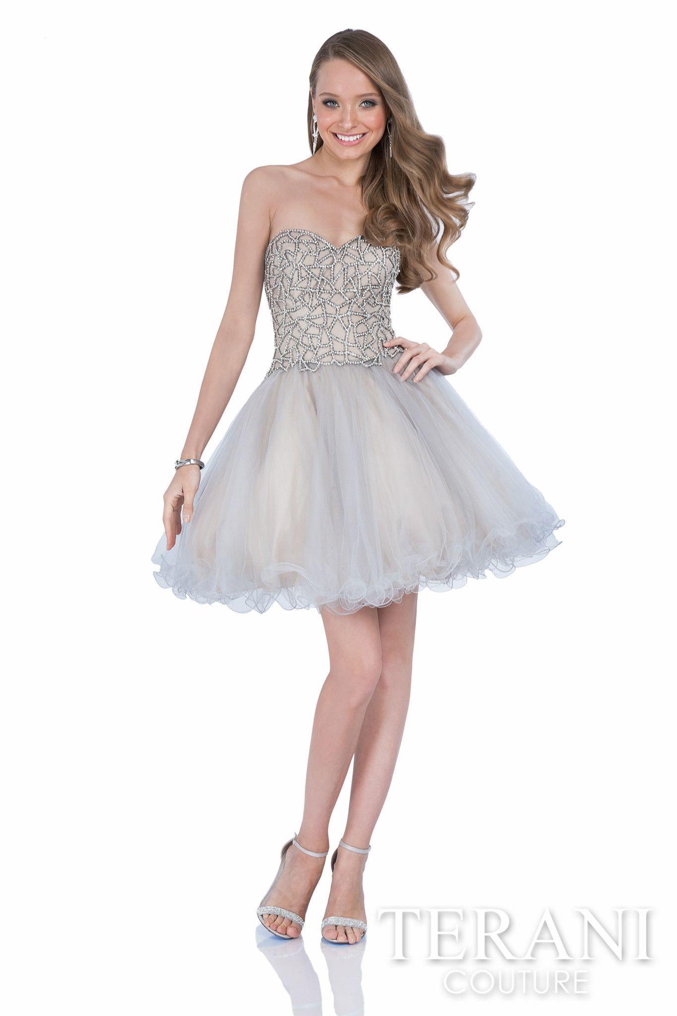 Sweetheart prom dress with rhinestones arranged in a geometric motif ...