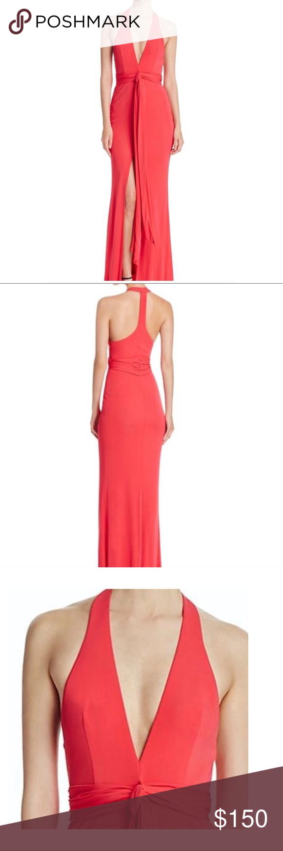 ABS by Allen Schwartz Deep V-neck red gown   My Posh Picks ...