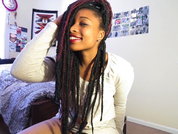 So I started out with box braids and saw some videos about how to do faux dreads so I got really excited and bought hair to try it out. As you can see I never finished, but I LOVE them anyway. I kind of like the mix of braids and dreads...I call them breads lol lame, I know! But anyway they are easy to do but take FOREVER....look them up on YouTube, there's lots of tutorials!