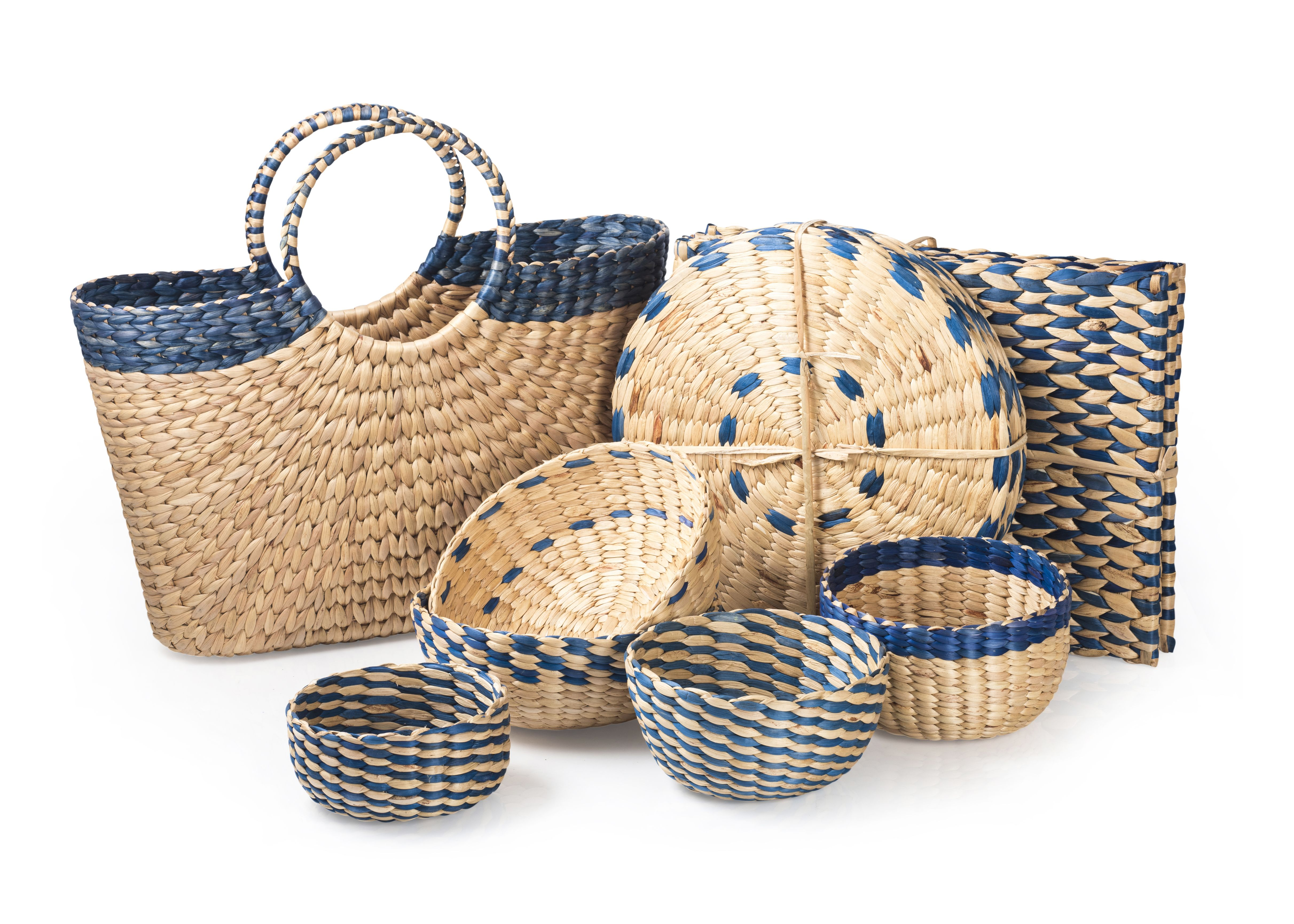 Hand Woven Water Hyacinth Product Range In Teal Blue Water
