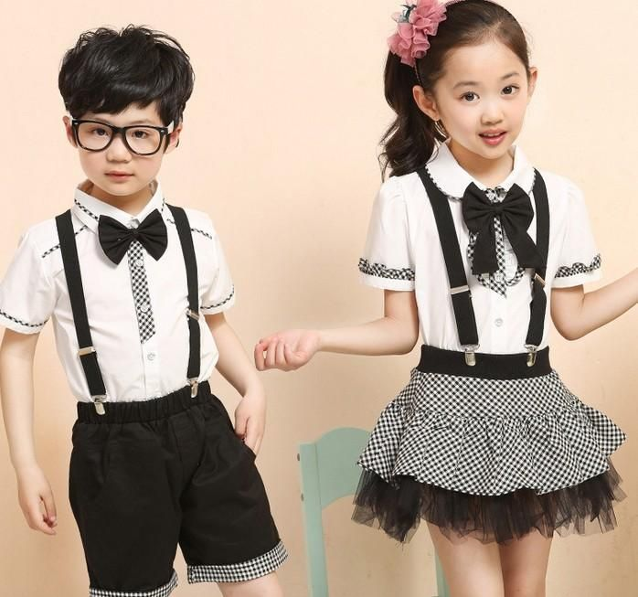 457b0be0f561 School Uniform Childre Uniforms Summer Korean Boys Girls Clothes  Performance Costumes White Shirts Shorts Pants Lace Check Skirts I3093