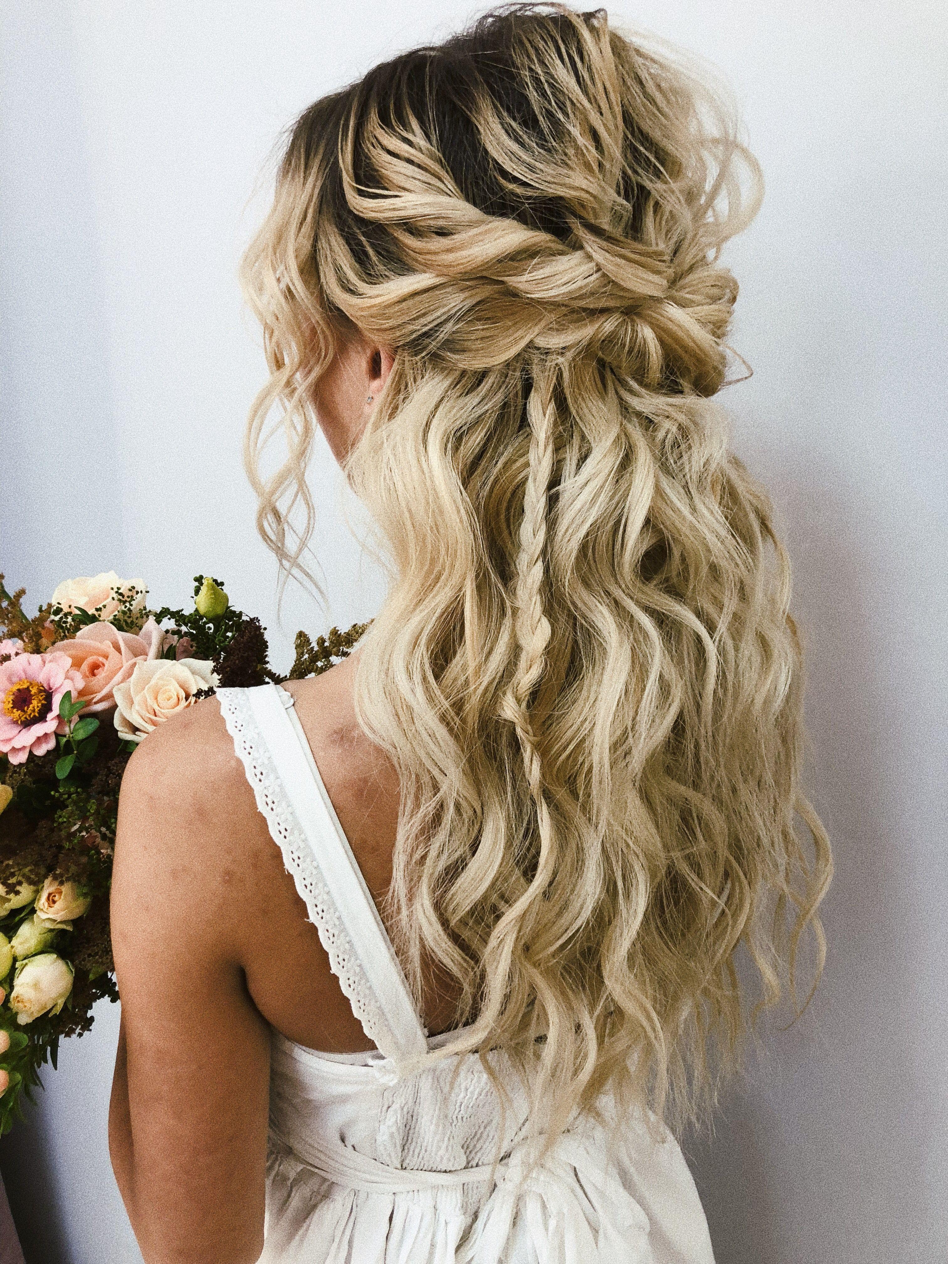 Malvinka Wedding Hair Half Half Up Wedding Hair Beach Wedding Hair