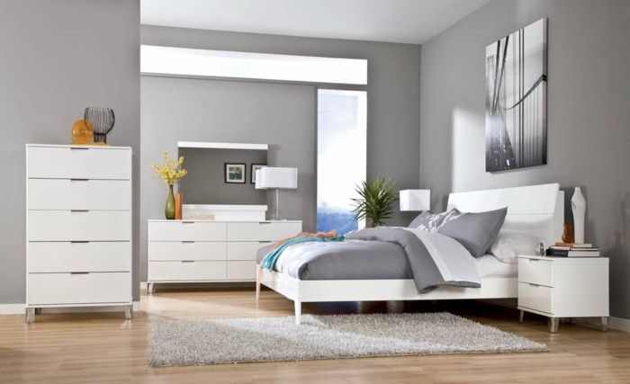 Bedroom walls grey light grey white furniture dekoartikel
