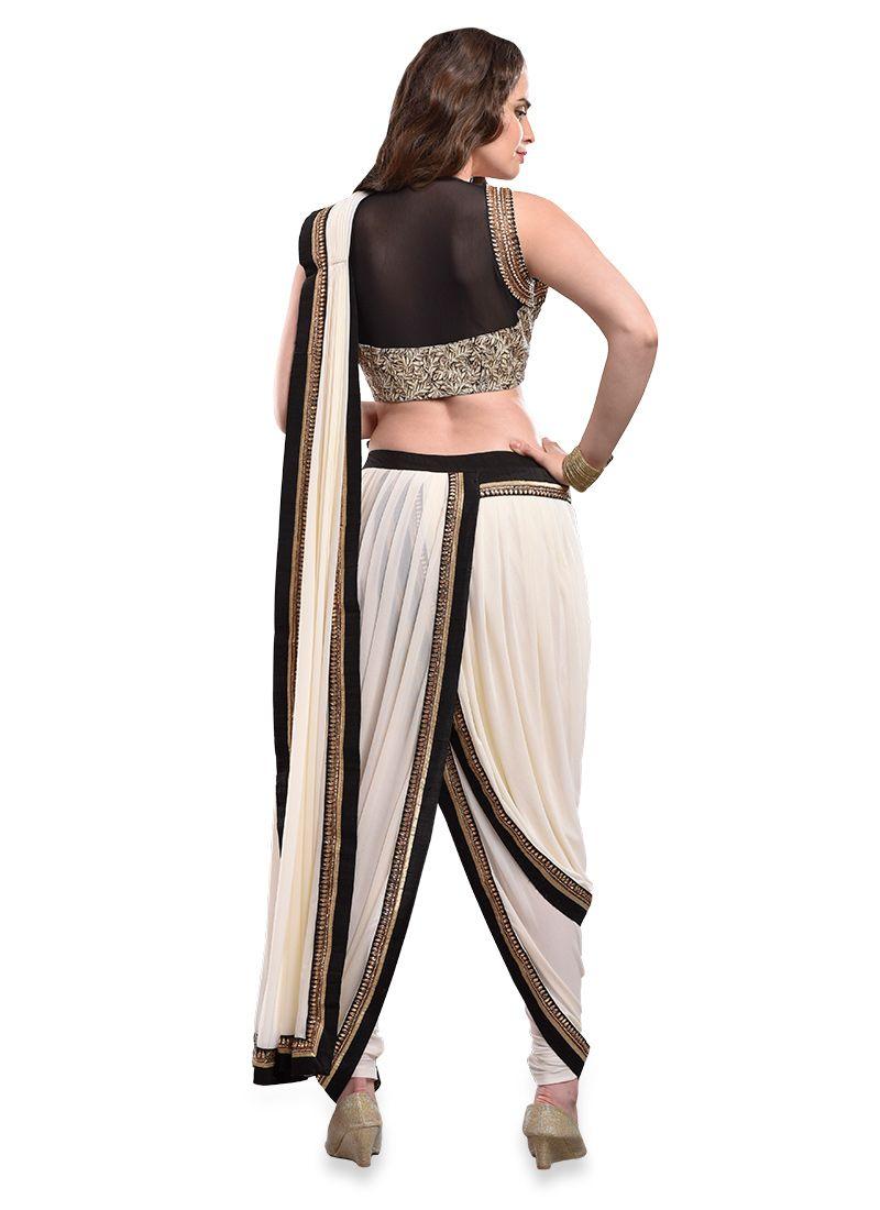 3c5ee3d05b453 Cream Pure Chiffon Indowestern Dhoti Style Saree