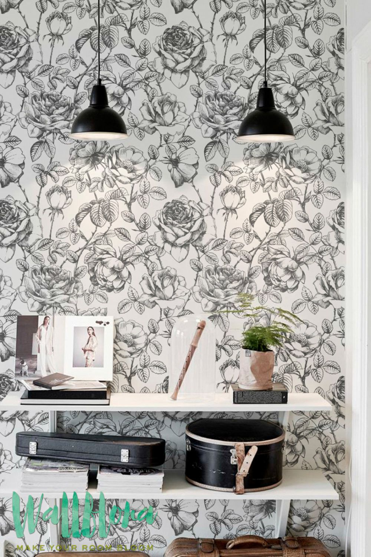 Monochrome Roses Wallpaper Renters Wallpaper Wall Wallpaper Black White Wallpaper