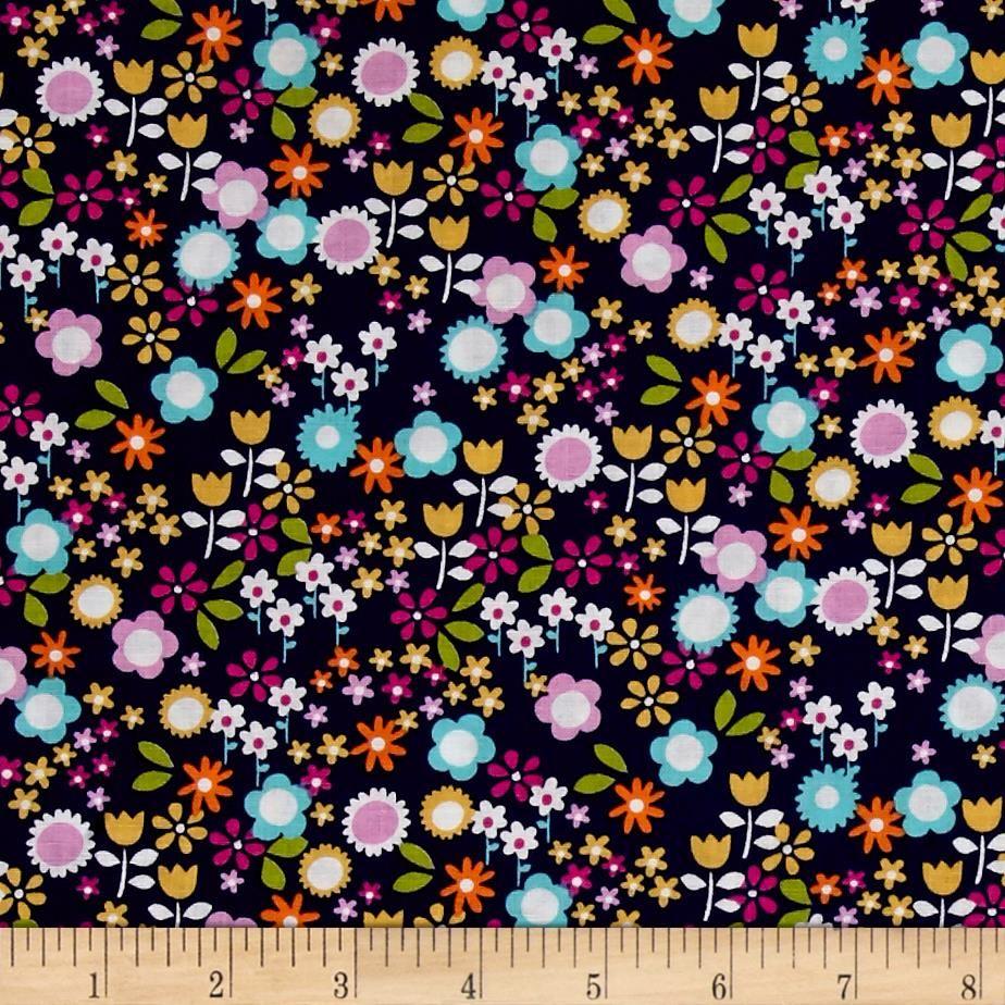 Floral Pattern Fabric Accent Wall: Michael Miller Sweet Emma Flower Drift Midnite