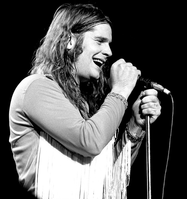 A happy Ozzy Osbourne Singing 1978 Black and white Photo