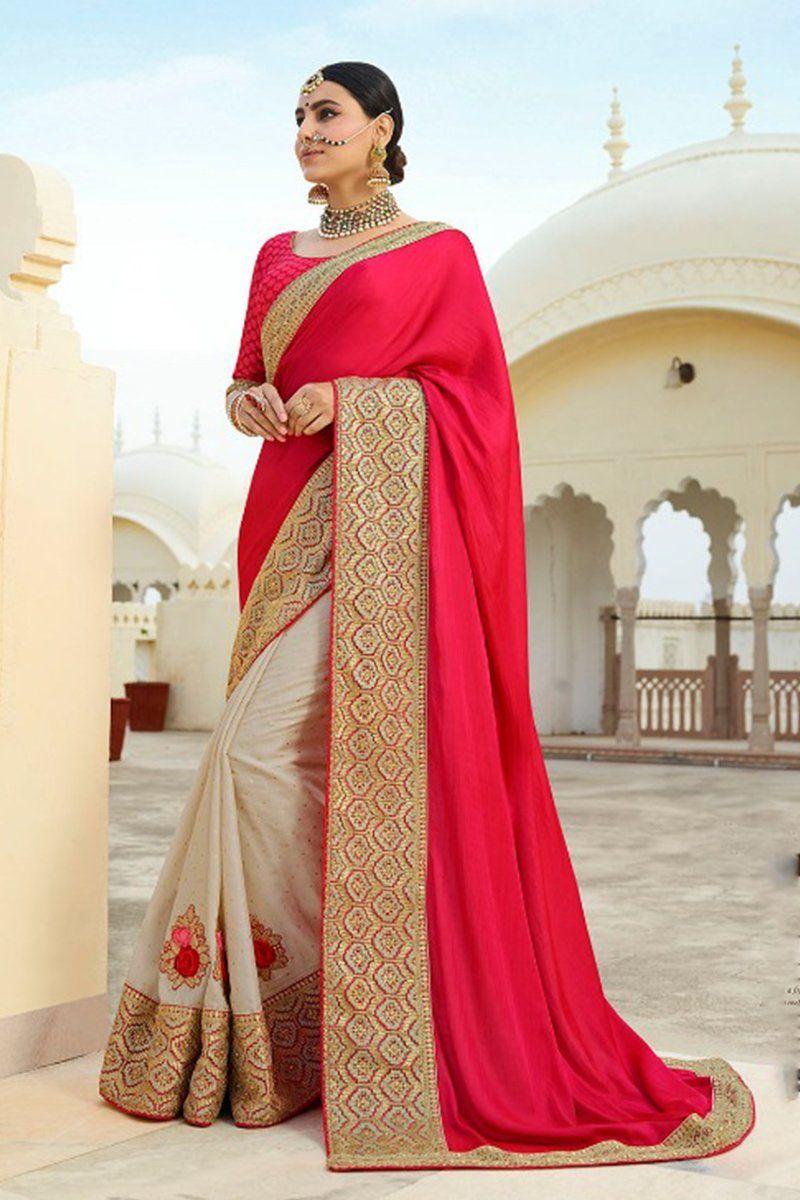 6a02b58d1d2fa Splendid Buttermilk and Ruby Pink Satin Silk Sari