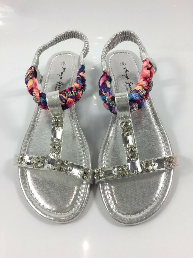 caae893ffb9d Womens Silver Sandals Ladies Low Wedge Heel T Strap Summer Shoes Size UK 6  New