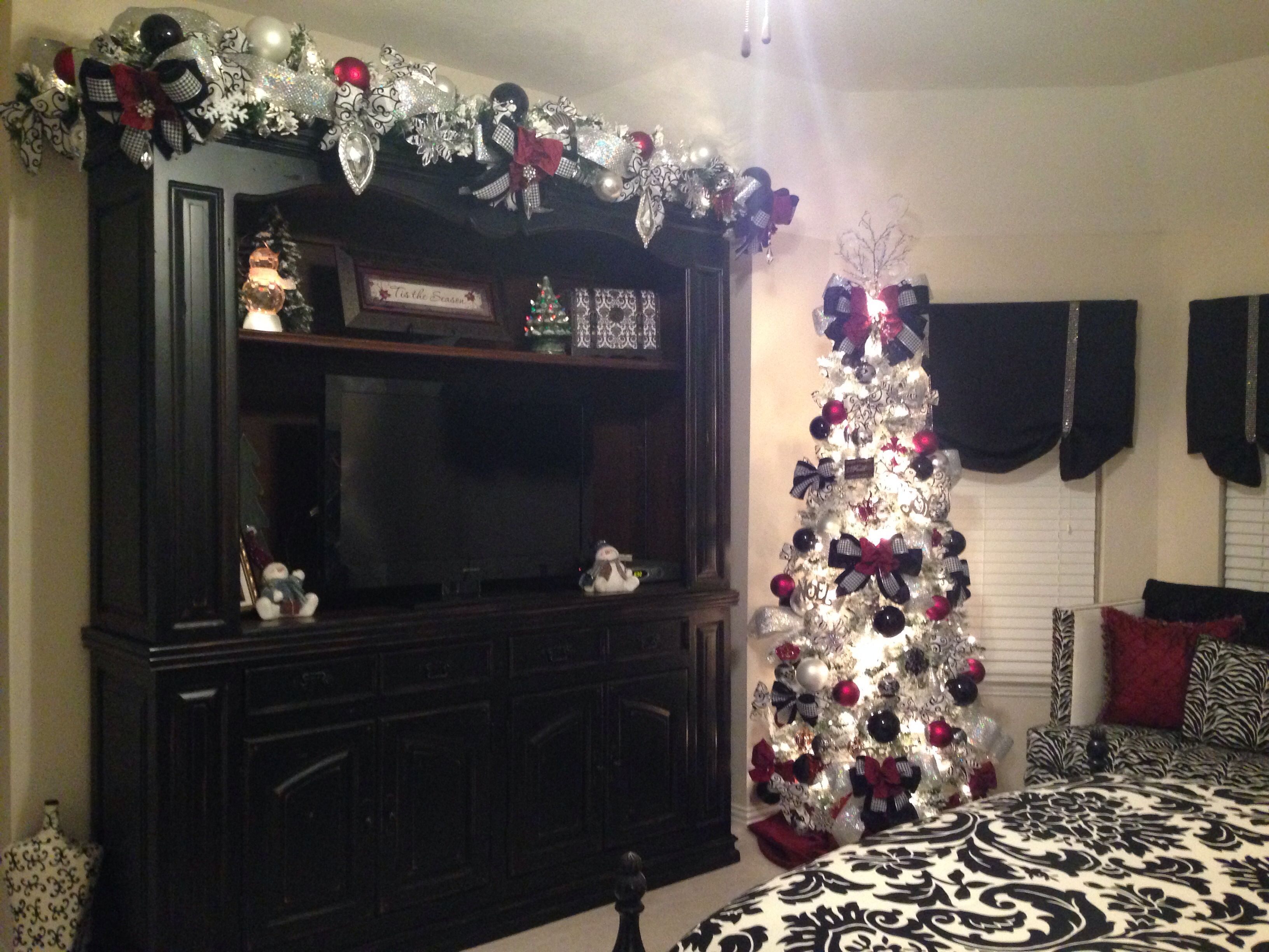 Burgundy, Silver, And Black Christmas Tree And Garland #bling #rhinestones  #designer