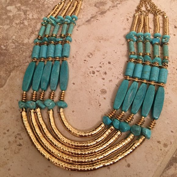 Chicos Brand new beautiful necklace Chicos brand new turquoise and gold necklace. This necklace is stunning Chico's Jewelry Necklaces