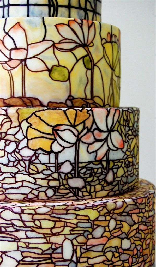 So pretty!  Stained glass #wedding cake.