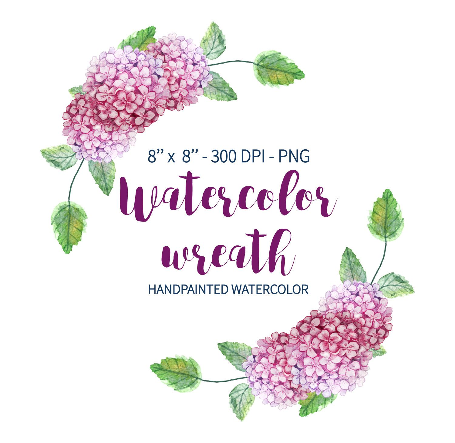 Watercolor Wreath Clipart, Wedding Floral Clipart, Hydrangea Wreath, Flower Wreath, Watercolor ...