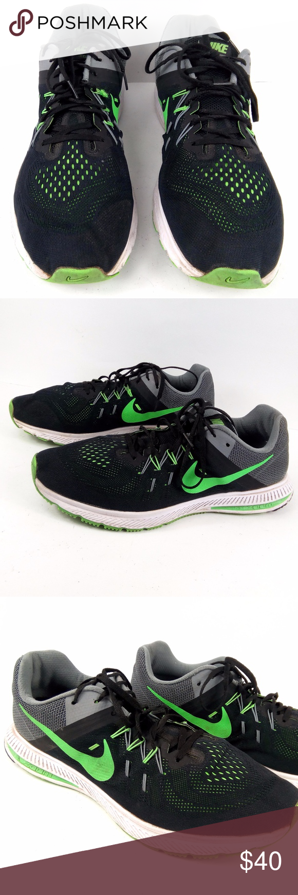 87b020c5c80dd Nike Zoom Winflo 2 sz 15 Black Green Running Shoes Nike Zoom Winflo 2 Men s