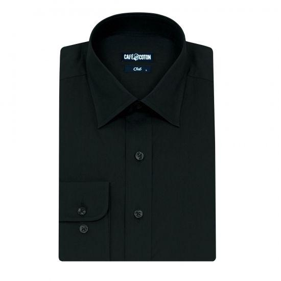 Chemise coupe cintrée en Popeline noire #chemise http://www.cafecoton.fr/chemises/10360-chemise-coupe-cintree-en-popeline-noire.html