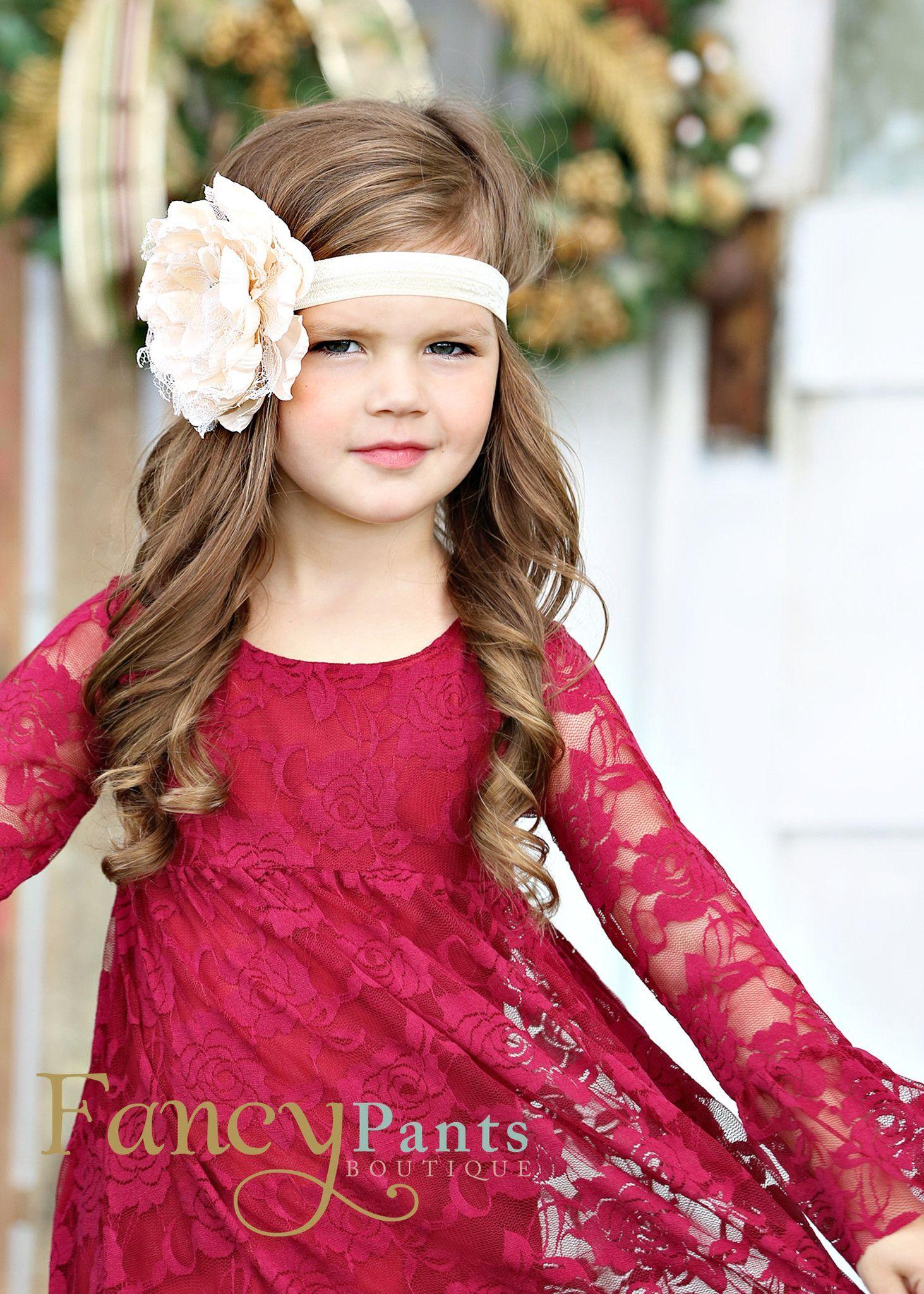 Burgundy Boho Chic Lace Dress  My Style  Girls Christmas -6857