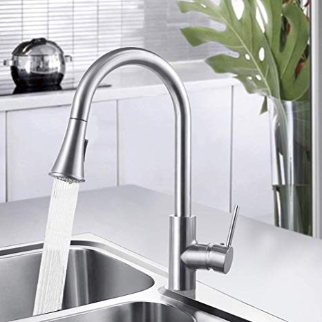 Amazon Com Hynawin Kitchen Faucet Single Handle High Arc Brushed