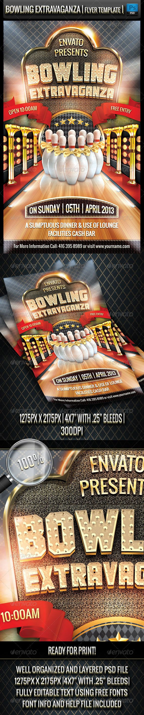 Bowling Extravaganza Flyer Template  #extravagant #fancy #fun • Click here to download ! http://graphicriver.net/item/bowling-extravaganza-flyer-template/3795290?s_rank=164&ref=pxcr