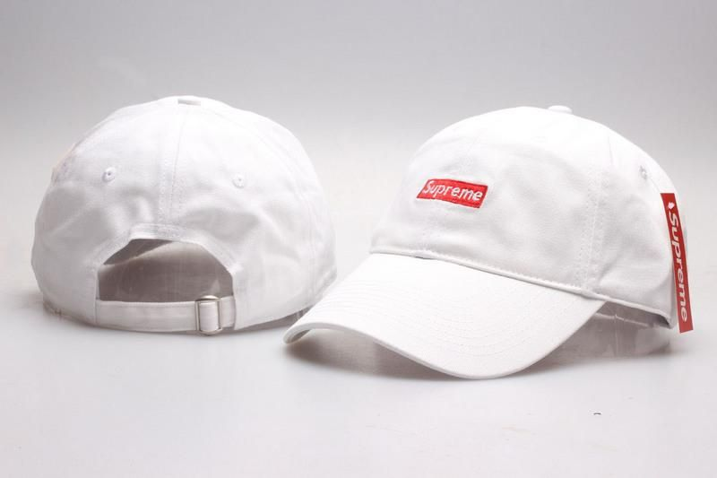 Men s   Women s Unisex Supreme Iconic Bar Embroidered Logo 6 Panel Strap  Back Baseball Adjustable Hat - White a27d00c6b